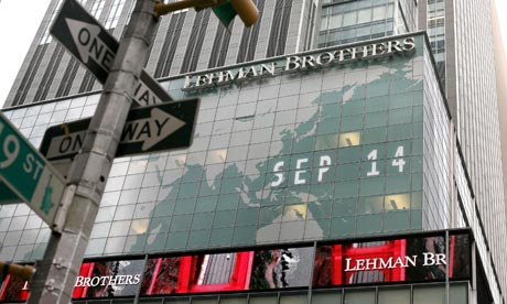Lehman Brothers' New York, 2008. Photograph: Michael Nagle/Getty Images